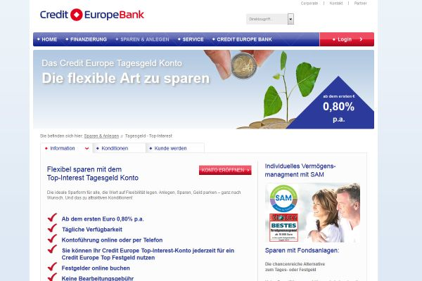 Credit Europe Bank Tagesgeld